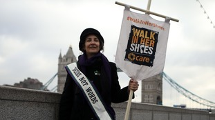 Helen Pankhurst, pictured at a demo last year.