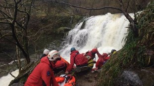 The mountain rescue team found the pair at the bottom in a gorge