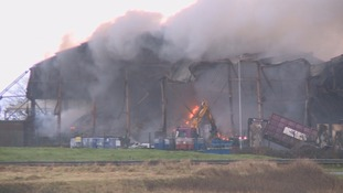 The fire at Llandow Trading Estate.
