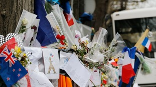 Tributes left outside the Bataclan Theatre in Paris