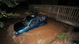 The car trapped in the flooded ford in Chew Stoke