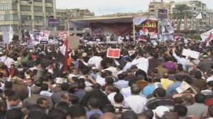 Crowds gather for a rally in Cairo
