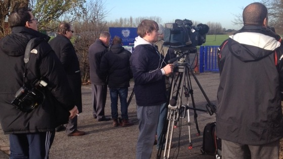 Media gather outside QPR training ground hoping to get a glimpse of Harry Redknap, the man thought to be the new manager, arriving.