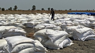 Bags of food have been dropped by the World Food Program in South Sudan.