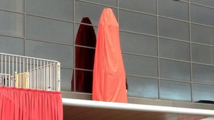 Covered statue