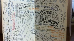 The card is full of greeting messages from over the years