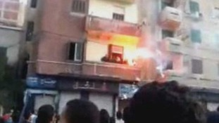 Protesters set the offices of the Muslim brotherhood on fire