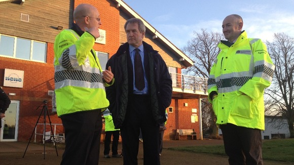 Environment Secretary Owen Paterson visits Northampton flood defences before heading to Billing Aquadrome