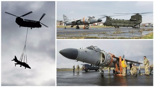 RAF Chinook airlifts Sea Harrier 'jump jet' to new home