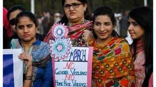 Pakistani women take part in a demonstration in Islamabad, Pakistan