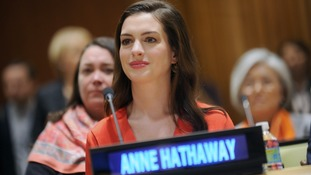 Anne Hathaway makes her first public appearance as UN Women Goodwill Ambassador in New York