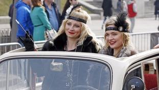 Two women join a parade in Kiev, Ukraine