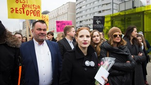 Actress Jessica Chastain in a protest in Warsaw, Poland