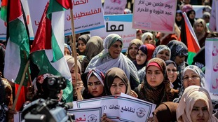 Palestinian women on a march in the Gaz Strip