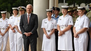 Australia's Prime Minister Malcolm Turnbull speaks to ADFA cadets during an event in Canberra, Australia