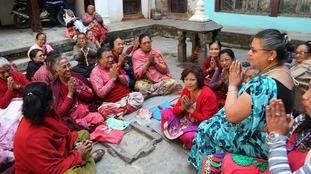 Earthquake survivors gather to celebrate in Kathmandu, Nepal.
