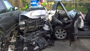 Five hurt after three car crash