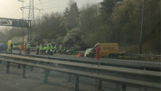 Emergency workers on the M40.