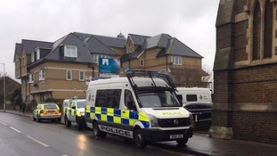 Emergency services at the scene where the baby's body was found