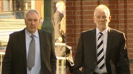 Mick Stevens (left) and Neil Greatrex (right) arriving at Nottingham Crown Court