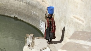 A woman fetches water from a pond near the village of Hamedan on the outskirts of Sanaa