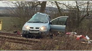 The aftermath of a fatal crash on a level crossing in Bedfordshire