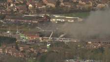 The fire damaged Asda superstore in Luton