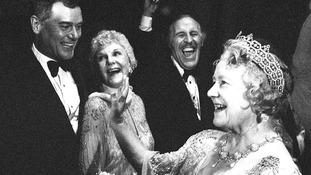 Larry Hagman meets the Queen Mother