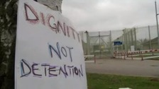 Campaigners have held a protest outside an immigration detention centre in Lincolnshire.