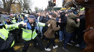 Tottenham and Millwall fans clash outside White Hart Lane