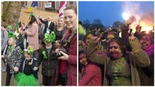 Thousands in Leicester have been out in the city celebrating St Patrick's Day and Holi.