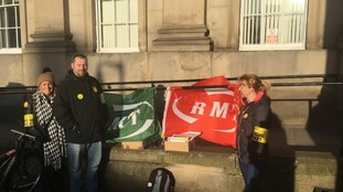 Rail workers on the picket line in Huddersfield