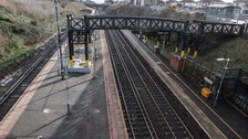 A deserted Hunt's Cross railway station in Liverpool as workers at Merseyrail workers go on strike
