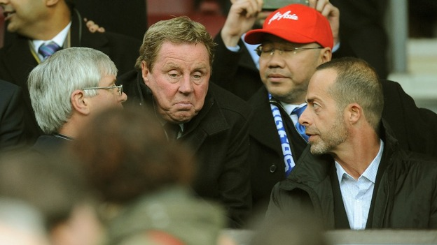 Queens Park Rangers new manager Harry Redknapp in the stands at Old Trafford, Manchester.