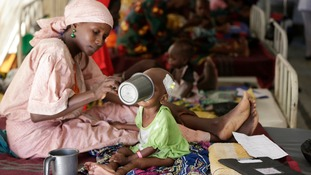 A mother and her malnourished child at a Doctors Without Borders feeding centre.