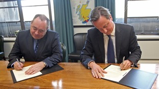 Alex Salmond and David Cameron signed the Edinburgh Agreement for the original referendum in October 2012.