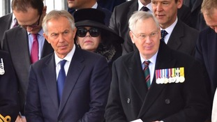 Former prime minister Tony Blair (left) and the Duke of Gloucester at the service.