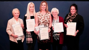 Award winners Vera Ridley, Mia Flood, Mo Mowlam, Linda Dickinson, Glynis Rodgerson and Kat Kempen