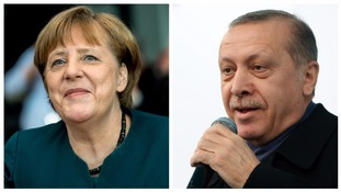 German Chancellor Angela Merkel and Turkish President Recep Tayyip Erdogan.