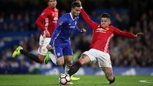 Marcos Rojo challenges Eden Hazard