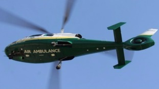 A pedestrian was airlifted from Windermere to hospital in Carlisle
