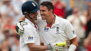 England's Kevin Pietersen celebrates reaching his century with Alastair Cook in Adelaide in 2010.