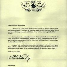 JK Rowling letter