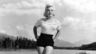 Marilyn Monroe pictured in 1953 at Jasper National Park, Alberta, Canada.