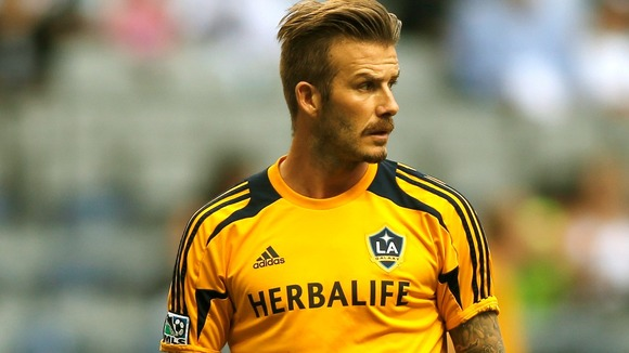 David Beckham playing for the L.A. Galaxy on July 18, 2012