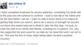 Ben Affleck's statement on Facebook