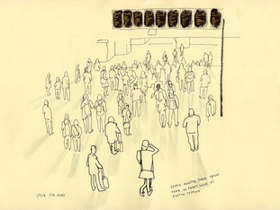 Day 183, People await their trains home on a Friday night in Euston Station