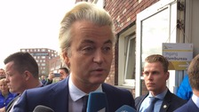 Freedom Party leader Geert Wilders speaks to the press.