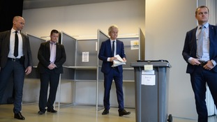 Geert Wilders casts his vote at a polling station in The Hague.