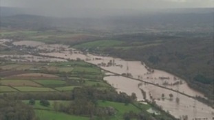 An overhead view of the flooding which has engulfed the South West region.